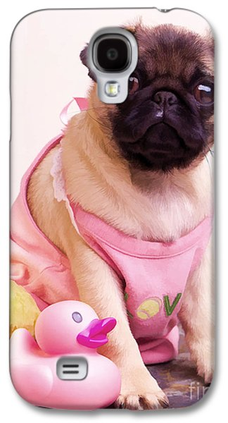 Puppies Galaxy S4 Cases - Pug Puppy Bath Time Galaxy S4 Case by Edward Fielding