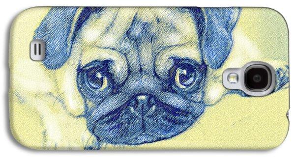 Pug Puppy Pastel Sketch Galaxy S4 Case by Jane Schnetlage