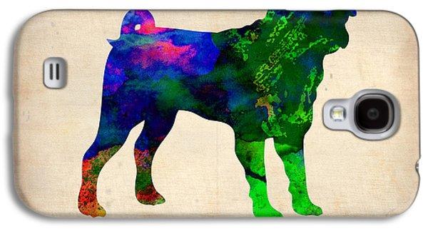 Puppies Galaxy S4 Cases - Pug Watercolor  Galaxy S4 Case by Naxart Studio