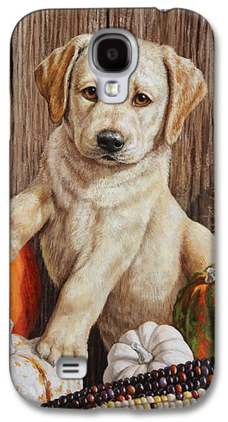 Cute Puppy Galaxy S4 Cases - Pumpkin Puppy Galaxy S4 Case by Crista Forest