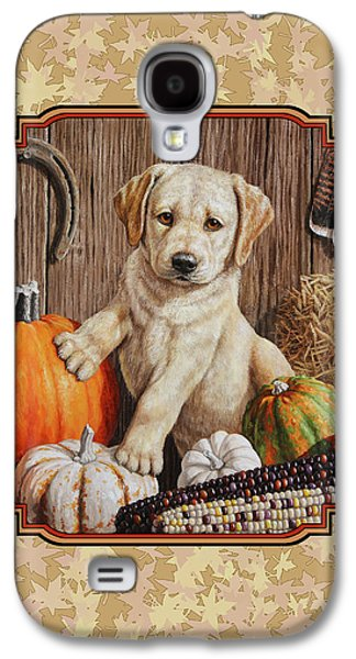 Cute Puppy Galaxy S4 Cases - Pumpkin Puppy Leafy Background Galaxy S4 Case by Crista Forest