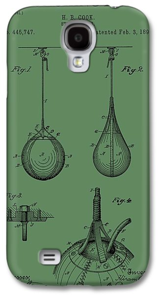 Recently Sold -  - Boxer Digital Galaxy S4 Cases - Punching Bag Patent On Green Galaxy S4 Case by Dan Sproul