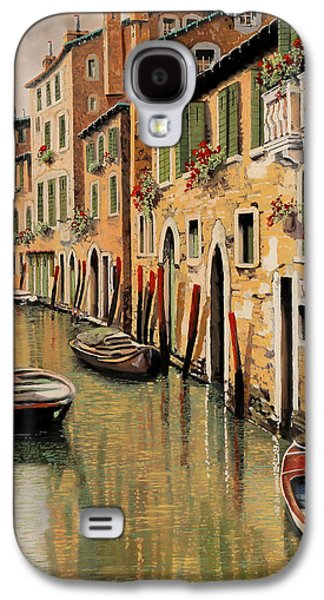 Docked Boat Galaxy S4 Cases - Punte Rosse A Venezia Galaxy S4 Case by Guido Borelli