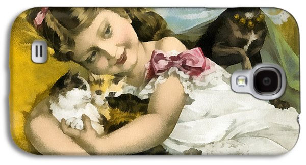 Puppy Digital Galaxy S4 Cases - Puppies Kittens And Baby Girl Galaxy S4 Case by Vintage Trading Cards