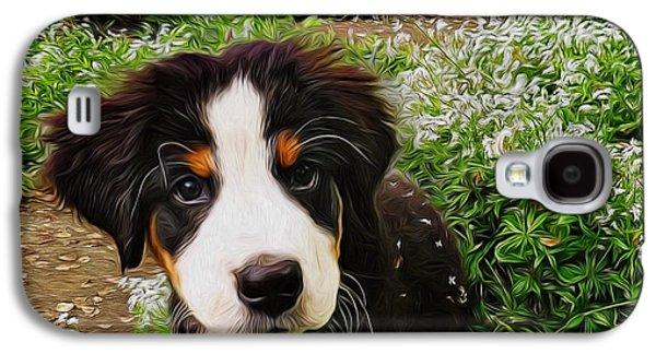 Dog Walking Digital Galaxy S4 Cases - Puppy Art - Little Lily Galaxy S4 Case by Jordan Blackstone
