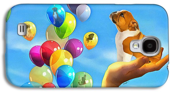 Puppy Digital Art Galaxy S4 Cases - Puppy Balloon-A-Gram Galaxy S4 Case by Anthony Caruso