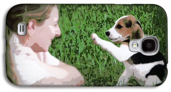 Canine Greeting Cards Digital Galaxy S4 Cases - Puppy Love Galaxy S4 Case by Lynn Griffin