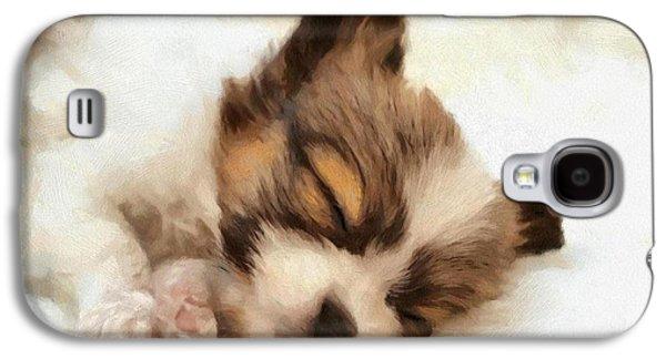 Puppy Digital Art Galaxy S4 Cases - Puppy nap Galaxy S4 Case by Gun Legler
