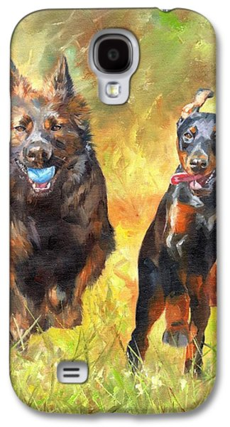 Dog Playing Ball Galaxy S4 Cases - Pure Joy Galaxy S4 Case by David Stribbling