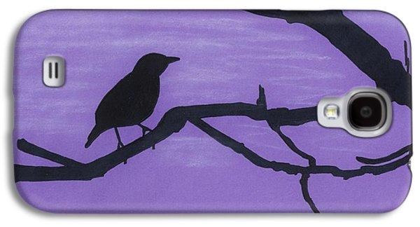 Skylines Pastels Galaxy S4 Cases - Purple - Bird - Silhouette Galaxy S4 Case by D Hackett