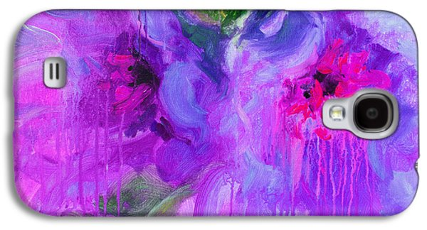 Colorful Abstract Mixed Media Galaxy S4 Cases - Purple Abstract peonies flowers painting Galaxy S4 Case by Svetlana Novikova