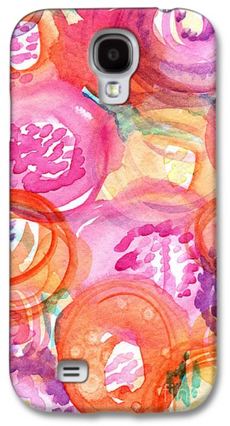 Flower Abstract Galaxy S4 Cases - Purple and Orange Flowers Galaxy S4 Case by Linda Woods
