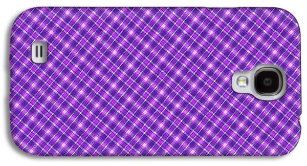 Diagonal Galaxy S4 Cases - Purple And Pink Diagonal Plaid Pattern Cloth Background Galaxy S4 Case by Keith Webber Jr