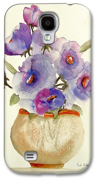 Pottery Paintings Galaxy S4 Cases - Purple Anemones in a Vase Galaxy S4 Case by Neela Pushparaj