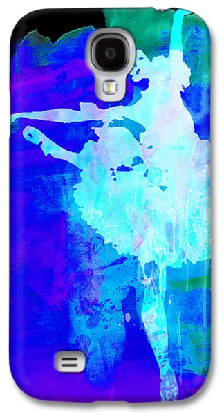 Young Mixed Media Galaxy S4 Cases - Purple Ballerina Watercolor Galaxy S4 Case by Naxart Studio