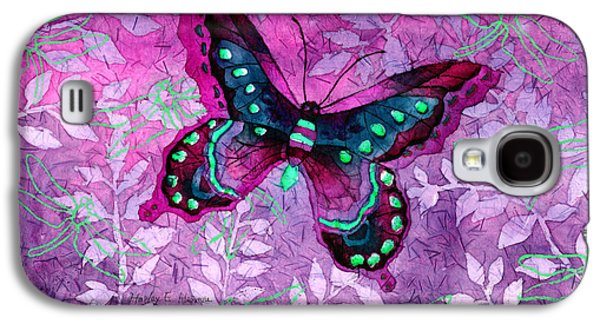Digital Watercolor Paintings Galaxy S4 Cases - Purple Butterfly Galaxy S4 Case by Hailey E Herrera