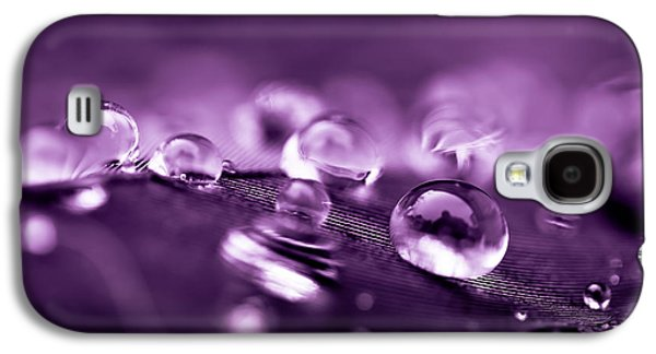 Abstracts Galaxy S4 Cases - Purple Droplets Galaxy S4 Case by Shane Holsclaw