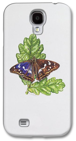 Botanical Galaxy S4 Cases - Purple Emperor Butterfly On Oak Leaves Wc Galaxy S4 Case by Elizabeth Rice