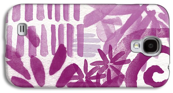 Purple Art Galaxy S4 Cases - Purple Garden - Contemporary Abstract Watercolor Painting Galaxy S4 Case by Linda Woods