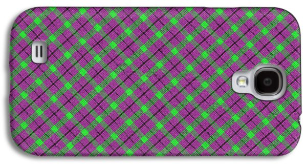 Diagonal Galaxy S4 Cases - Purple Green and Black Diagonal Plaid Fabric Background Galaxy S4 Case by Keith Webber Jr