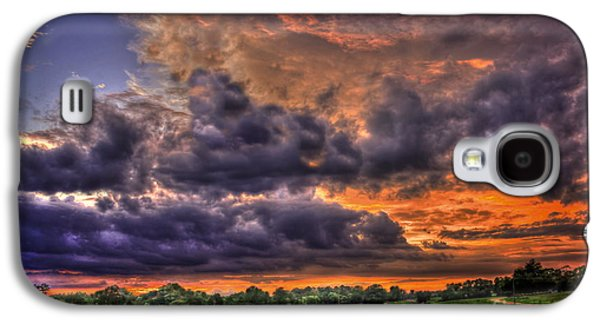 Hayfield Galaxy S4 Cases - Purple Haze Clouds at Sunset Over the Hayfield Galaxy S4 Case by Reid Callaway