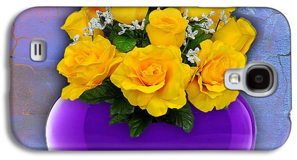 Hearts Galaxy S4 Cases - Purple Heart Vase with Yellow Roses Galaxy S4 Case by Marvin Blaine