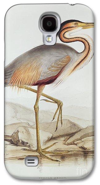 Purple Drawings Galaxy S4 Cases - Purple Heron Galaxy S4 Case by Edward Lear