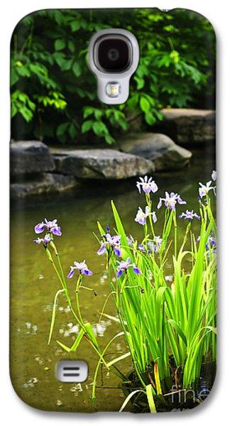 Aquatic Galaxy S4 Cases - Purple irises in pond Galaxy S4 Case by Elena Elisseeva