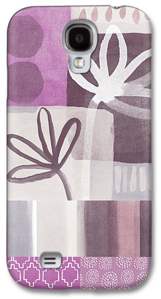 Still Life Mixed Media Galaxy S4 Cases - Purple Patchwork- contemporary art Galaxy S4 Case by Linda Woods