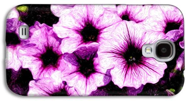 Digital Galaxy S4 Cases - Purple Petunia Flowers Digital Painting Galaxy S4 Case by Paul Velgos