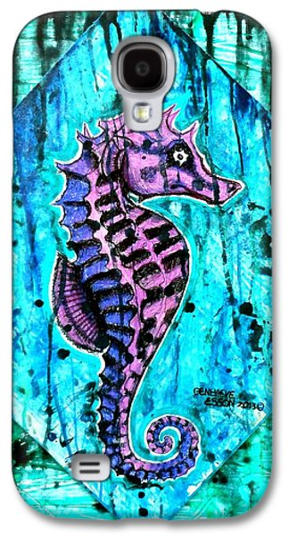 Colored Pencil Paintings Galaxy S4 Cases - Purple Seahorse Galaxy S4 Case by Genevieve Esson