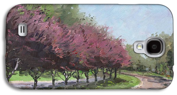 Purple Paintings Galaxy S4 Cases - Purple Trees  Galaxy S4 Case by Ylli Haruni
