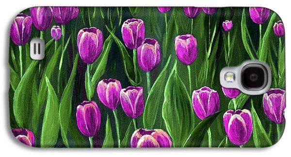 Love Digital Art Galaxy S4 Cases - Purple Tulip Field Galaxy S4 Case by Anastasiya Malakhova