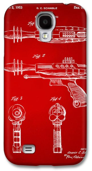 Futuristic Galaxy S4 Cases - Pyrotomic Disintegrator Pistol Patent Red Galaxy S4 Case by Nikki Marie Smith