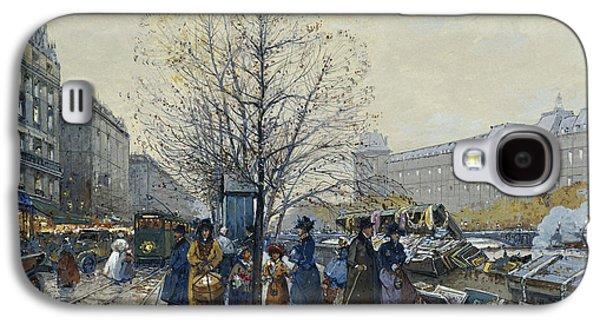 19th Century Galaxy S4 Cases - Quai Malaquais Paris Galaxy S4 Case by Eugene Galien-Laloue