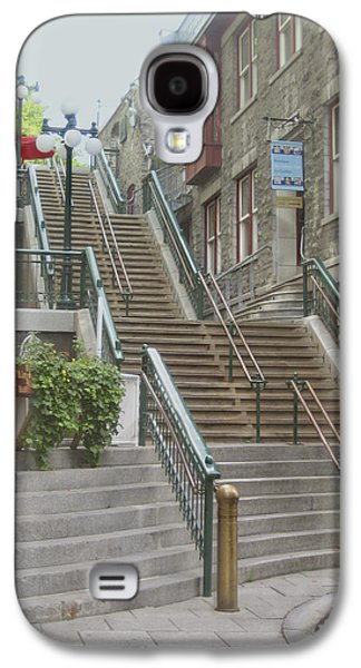 Quebec Galaxy S4 Cases - quaint  street scene  photograph THE BREAKNECK STAIRS of QUEBEC CITY   Galaxy S4 Case by Ann Powell