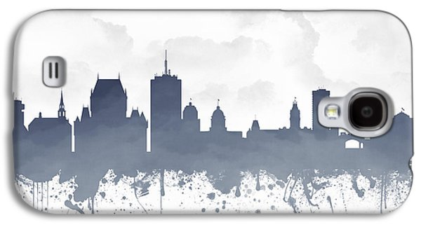 Quebec Galaxy S4 Cases - Quebec City Skyline - Blue 03 Galaxy S4 Case by Aged Pixel