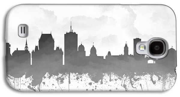 Quebec Galaxy S4 Cases - Quebec City Skyline - Gray 03 Galaxy S4 Case by Aged Pixel