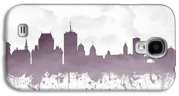 Quebec Galaxy S4 Cases - Quebec City Skyline - Purple 03 Galaxy S4 Case by Aged Pixel