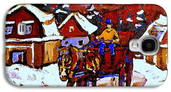 Horse And Buggy Paintings Galaxy S4 Cases - Quebec Landscape Paintings Red Sled Rider Thru Mont St Hilaire Quebec Winter Scene Painting Cspandau Galaxy S4 Case by Carole Spandau