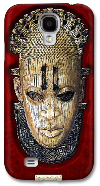 African Heritage Galaxy S4 Cases - Queen Mother Idia - Ivory Hip Pendant Mask - Nigeria - Edo Peoples - Court of Benin on Red Velvet Galaxy S4 Case by Serge Averbukh