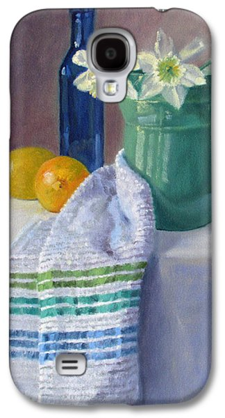 Old Pitcher Paintings Galaxy S4 Cases - Quiet Moment- Daffodils in a Blue Green Pitcher with Lemons Galaxy S4 Case by Bonnie Mason