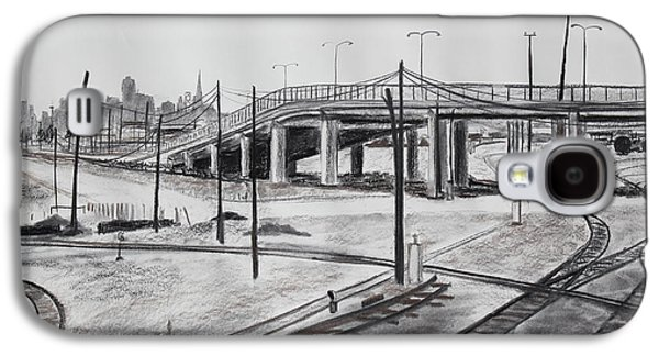 Industrial Drawings Galaxy S4 Cases - Quiet West Oakland Train Tracks with Overpass and San Francisco  Galaxy S4 Case by Asha Carolyn Young