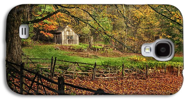 Old Maine Barns Galaxy S4 Cases - Quintessential Rustic Shack- A New England Autumn Scenic Galaxy S4 Case by Thomas Schoeller
