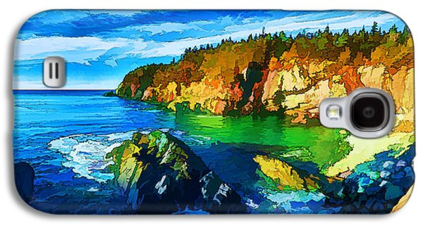 Coastal Maine Galaxy S4 Cases - Quoddy Head Cove - Painterly Galaxy S4 Case by Bill Caldwell -        ABeautifulSky Photography