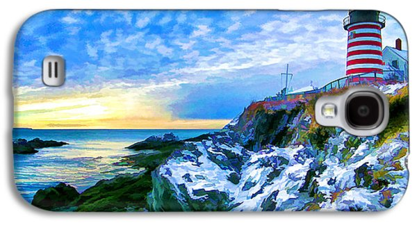 Coastal Maine Galaxy S4 Cases - Quoddy Head Lighthouse in Winter 3 Galaxy S4 Case by Bill Caldwell -        ABeautifulSky Photography