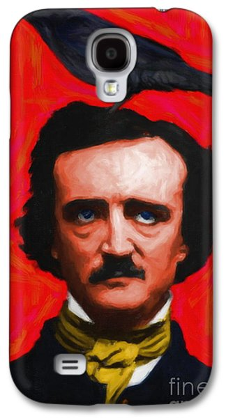 Celebrities Digital Art Galaxy S4 Cases - Quoth The Raven Nevermore - Edgar Allan Poe - Painterly - Red - Standard Size Galaxy S4 Case by Wingsdomain Art and Photography