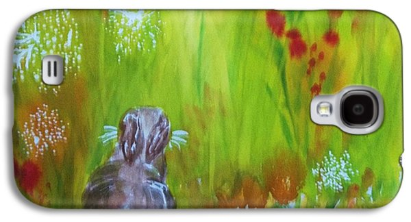 Abstract Nature Galaxy S4 Cases - Rabbit Hopping Through The Wildflowers - Square Galaxy S4 Case by Ellen Levinson