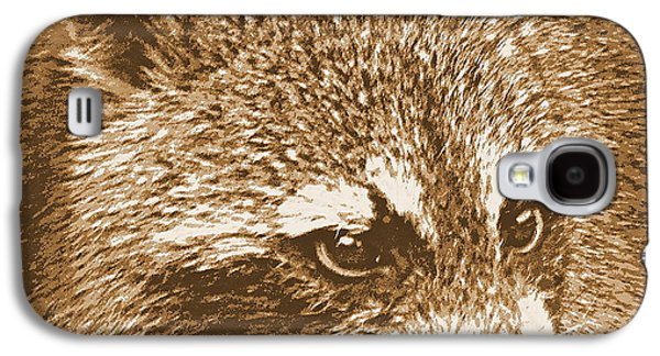 Raccoon Digital Art Galaxy S4 Cases - Raccoon in Sepia 1 Galaxy S4 Case by Sheri McLeroy