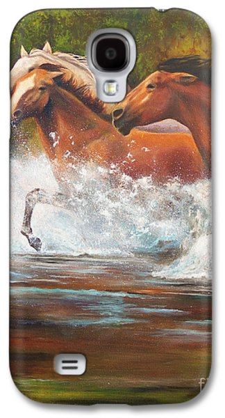 Chatham Paintings Galaxy S4 Cases - Race For Freedom close up Galaxy S4 Case by Karen Kennedy Chatham